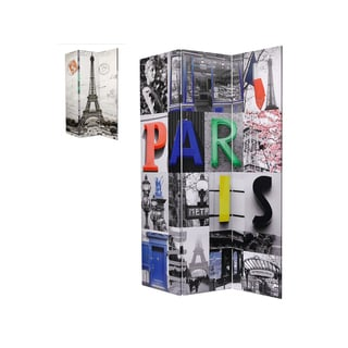 Paris Print Fabric Room Divider