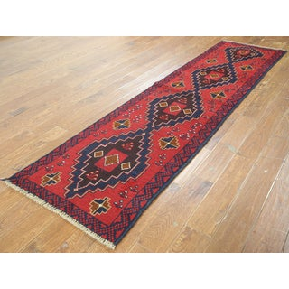 Oriental Balouch Red Wool-on-wool Hand-knotted Rug (2'4 x 9'3)