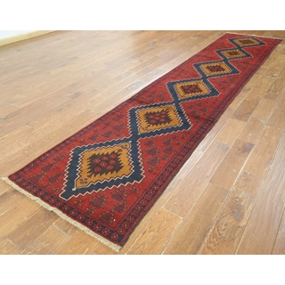 Hand-knotted Oriental Baluch Red Wool on Wool Rug (2' 6 x 12' 10)