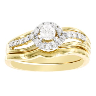 H Star 14k Yellow Gold 3/8ct Diamond Bridal Set (I-J, I2-I3)