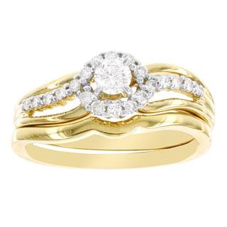 H Star 14k Yellow Gold 3/8ct Diamond Bridal Set (I-J, I2-I3)