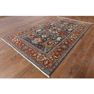 Blue Wool Hand-knotted Oriental Serapi Rug (5'10 x 9'6)