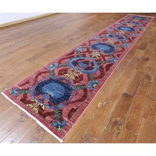 Hand-knotted Oriental Art Deco Pink Wool Rug (3'1 x 17'8)