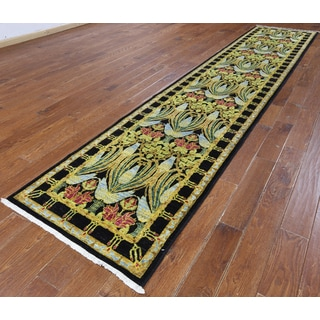 Hand-knotted Oriental Art Deco Multicolored Wool Rug (3' x 14'7)