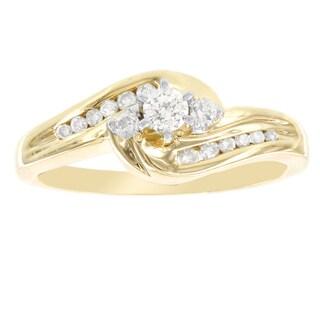 H Star 14k Yellow Gold 1/3ct Diamond Swirl Engagement Ring (I-J, I2-I3)