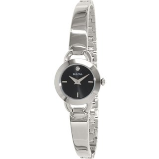 Bulova Women's 96P155 Stainless Steel Diamond Bangle Watch with 30M Water Resistance