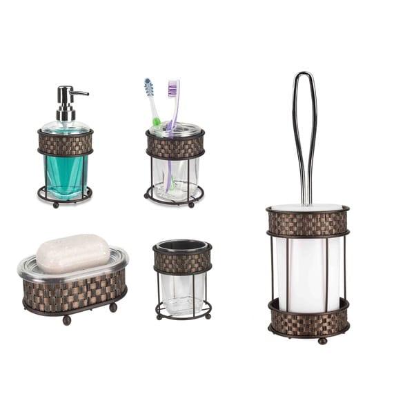 Home basics basket weave bronze bathroom accessory set for Bronze bathroom accessories set