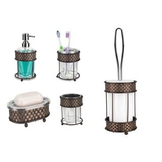 Home Basics Basket Weave Bronze Bathroom Accessory Set