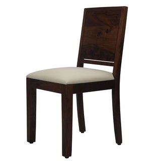 Teak Finish Solid Wood Cushion Chairs (Set of 2)