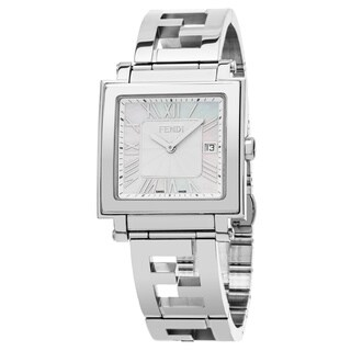 Fendi Men's F605014000 'Quadro' Mother of Pearl Dial Stainless Steel Swiss Quartz Watch