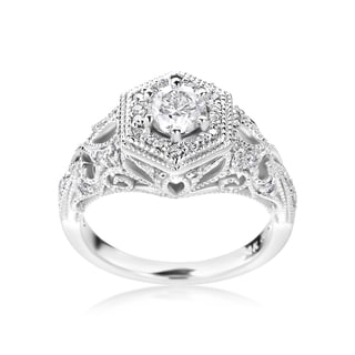 SummerRose 14k White Gold 1ct TDW Vintage Diamond Engagement Ring