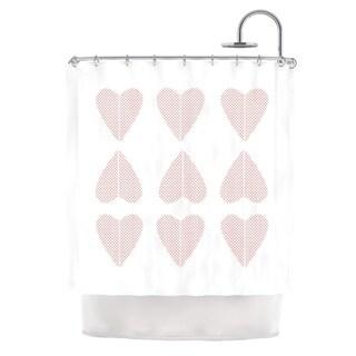 "Kess InHouse Belinda Gilles ""Cross My Heart Multiple"" Red PatternShower Curtain, 69"" x 70"""