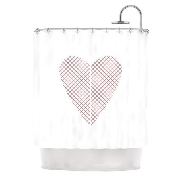 "Kess InHouse Belinda Gilles ""Cross My Heart"" Red WhiteShower Curtain, 69"" x 70"""