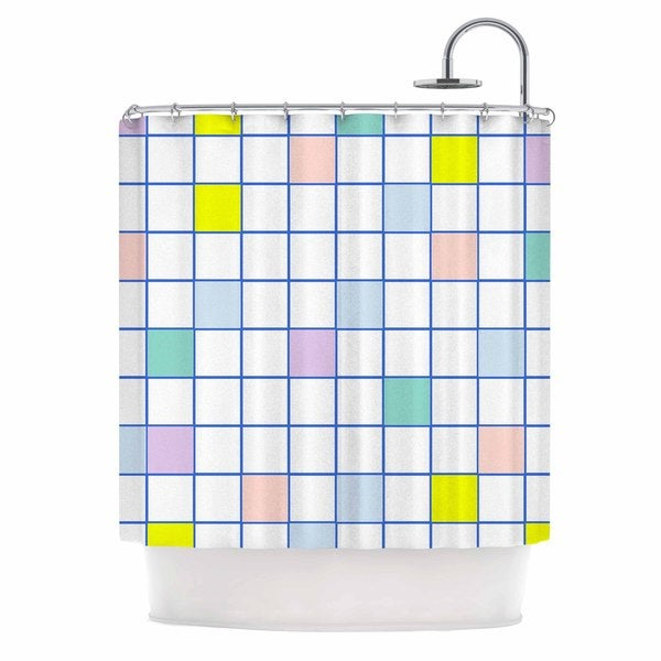 KESS InHouse Vasare Nar 'Pastel Windowpane Grid' Shower Curtain (69x70)