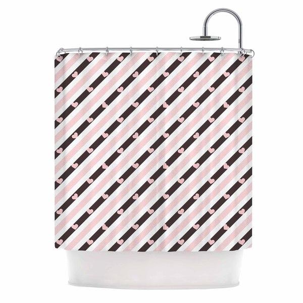 KESS InHouse Vasare Nar 'Pastel Stripe Heart' Shower Curtain (69x70) - 69 x 70