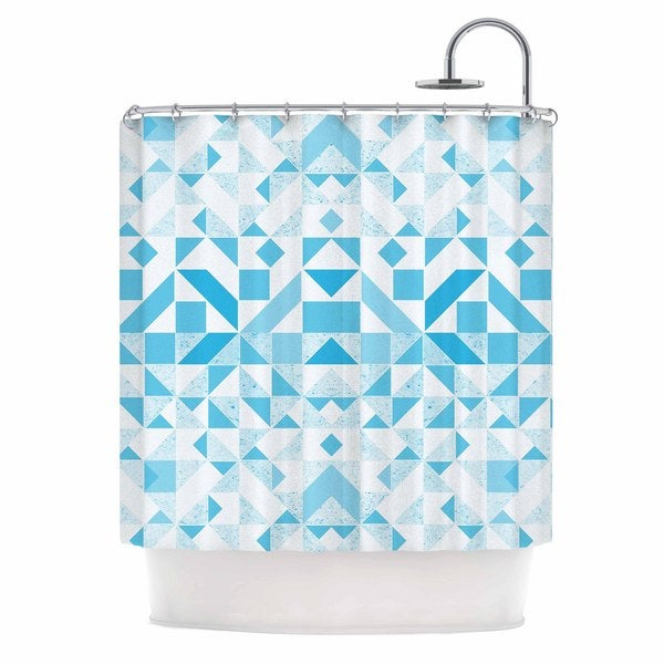 KESS InHouse Vasare Nar 'Light Blue Geometric' Shower Curtain (69x70)