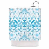 KESS InHouse Vasare Nar 'Light Blue Geometric' Shower Curtain (69x70)