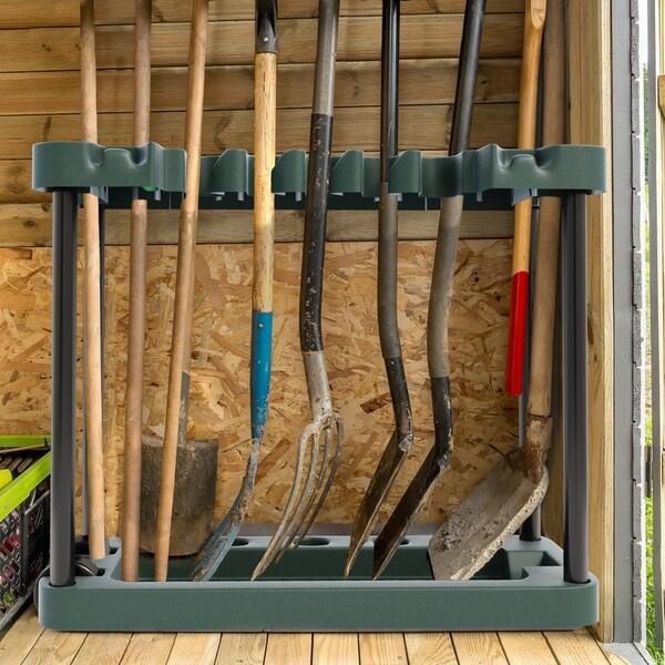 Compact Long Handled Tool Rack Hold 30 Organizer Storage Holder