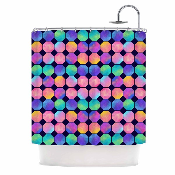 KESS InHouse Noonday Design 'Colorful Watercolor Octagons' Shower Curtain (69x70)