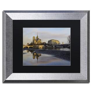 Mathieu Rivrin 'Sunrise in Notre Dame de Paris' Matted Framed Art