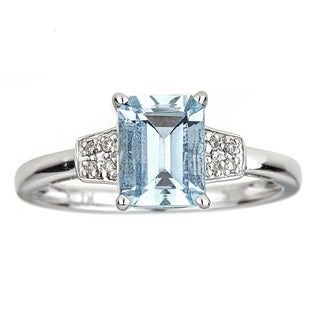 Anika and August 10k White Gold Emerald-cut Aquamarine and Diamond Ring