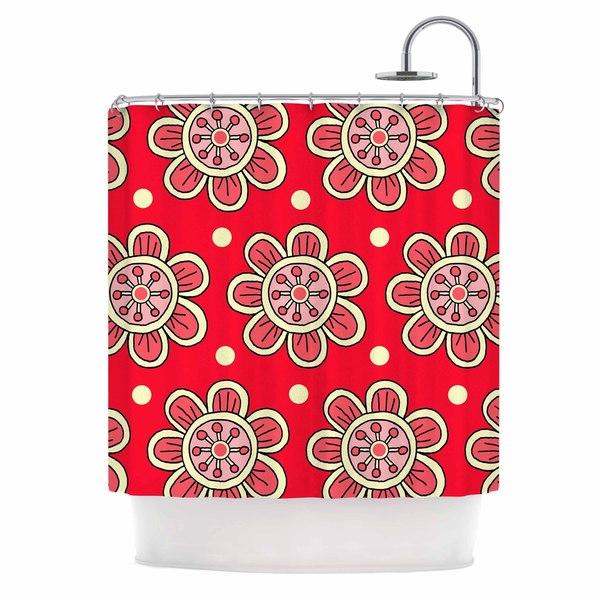 KESS InHouse Sarah Oelerich 'Scarlet Flowers' Shower Curtain (69x70)