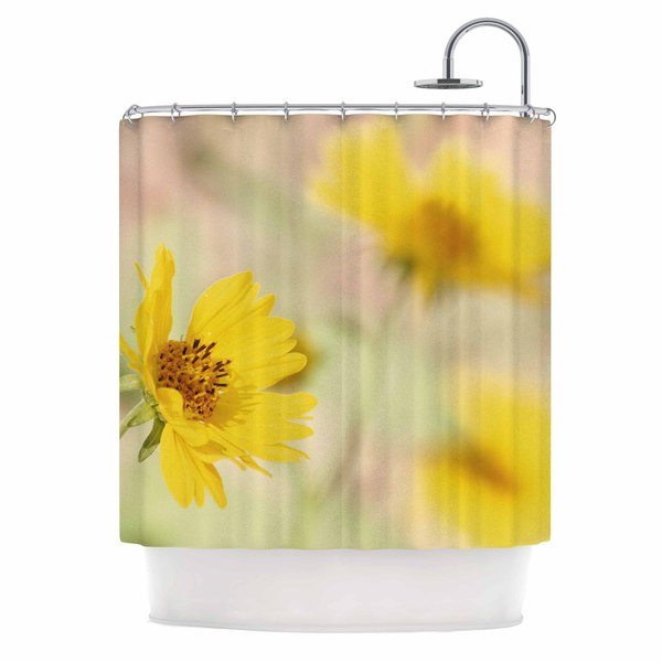 KESS InHouse Sylvia Coomes 'Abstract Yellow Flowers' Shower Curtain (69x70)