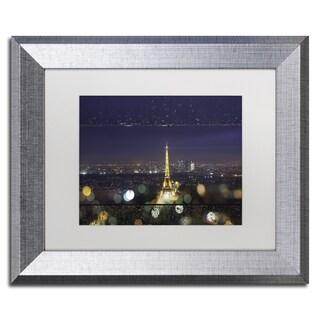 Mathieu Rivrin 'Fireworks of Rain in Paris' Matted Framed Art