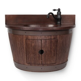 Wall-mounted Whiskey-finished Wine Barrel Vanity and Faucet Package