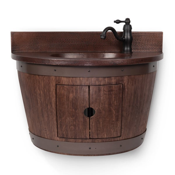 Shop Wall Mounted Whiskey Finished Wine Barrel Vanity And