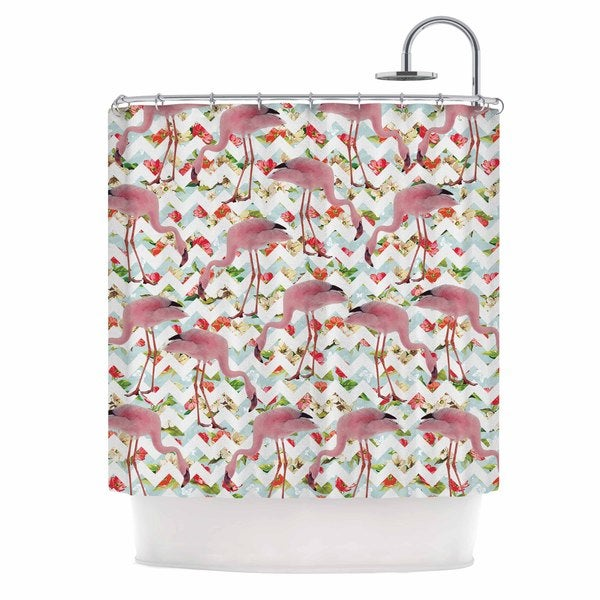 KESS InHouse Suzanne Carter 'Flamingo Chevron & Roses' Shower Curtain (69x70)
