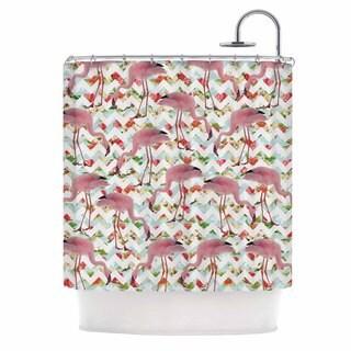 KESS InHouse Suzanne Carter 'Flamingo Chevron & Roses' Shower Curtain (69x70)