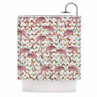 KESS InHouse Suzanne Carter 'Flamingo Chevron & Roses' Shower Curtain (69x70) - 69 x 70