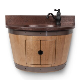 Wall-mounted Natural-finish Wine Barrel Vanity and Faucet Combo