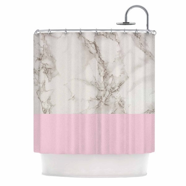 KESS InHouse Suzanne Carter 'Marble And Pink Block' Shower Curtain (69x70)