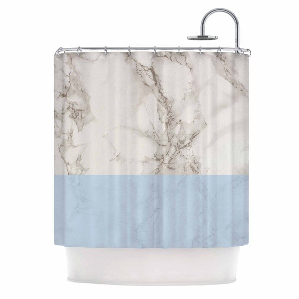 KESS InHouse Suzanne Carter 'Marble And Blue Block' Shower Curtain (69x70)