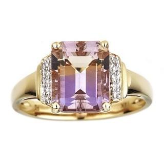 Anika and August 14k Yellow Gold Emerald-cut Ametrine and Diamond Ring