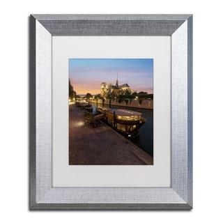 Mathieu Rivrin 'Sunset in Notre Dame de Paris' Matted Framed Art