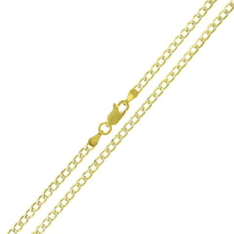 14K Yellow Gold Over Silver 3MM Cuban Curb Link Diamond-Cut Pave Two-Tone .925 ITProLux Necklace Chain, Made in Italy