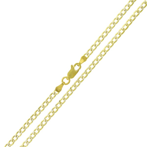 f0fc1ffbe06e4 Shop Authentic 14K Gold Italian Solid Sterling Silver 3mm Cuban Curb ...