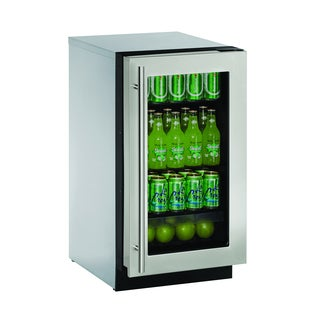 U-Line 2000 Series 2218 - 18 Inch Stainless Steel Framed Glass Door Refrigerator
