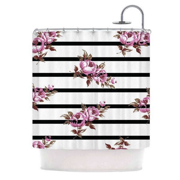 KESS InHouse NL Designs X27Purple Floral Stripesx27 Shower Curtain