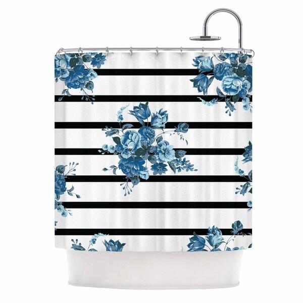 KESS InHouse NL Designs 'Blue Floral Strips' Shower Curtain (69x70)
