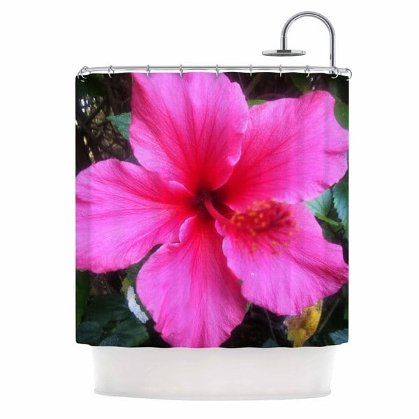 KESS InHouse NL Designs 'Tropical Pink Hibiscus' Shower Curtain (69x70)