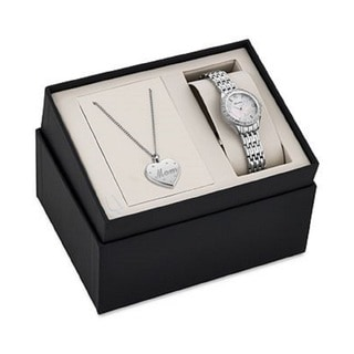 Bulova Women's 96X133 Stainless Steel Crystal Adorned Watch and Pendant Gift Set with a Mother of Pearl Dial