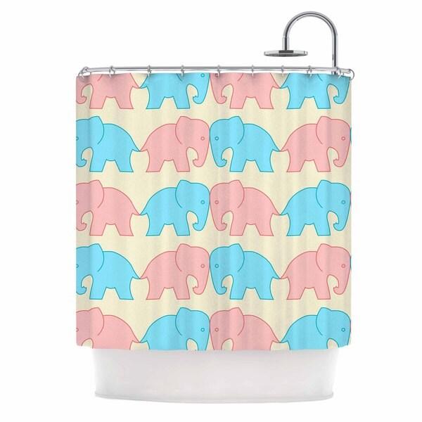 KESS InHouse NL Designs 'Pastel Elephants On Parade' Shower Curtain (69x70)