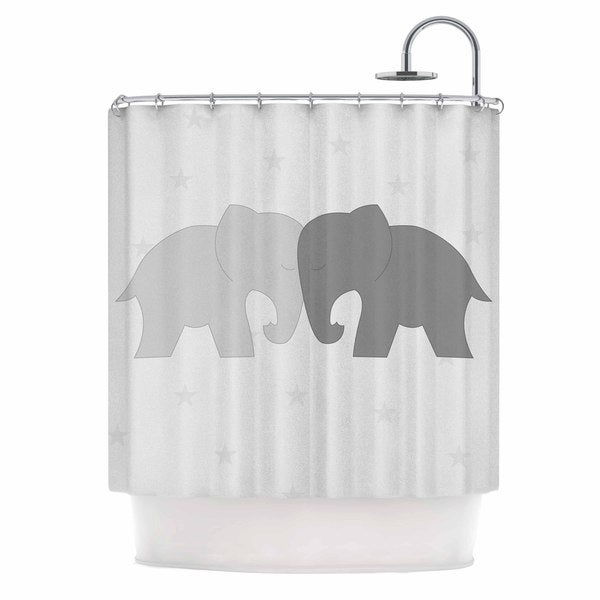 Shop KESS InHouse NL Designs \'Black And White Elephant Love\' Shower ...