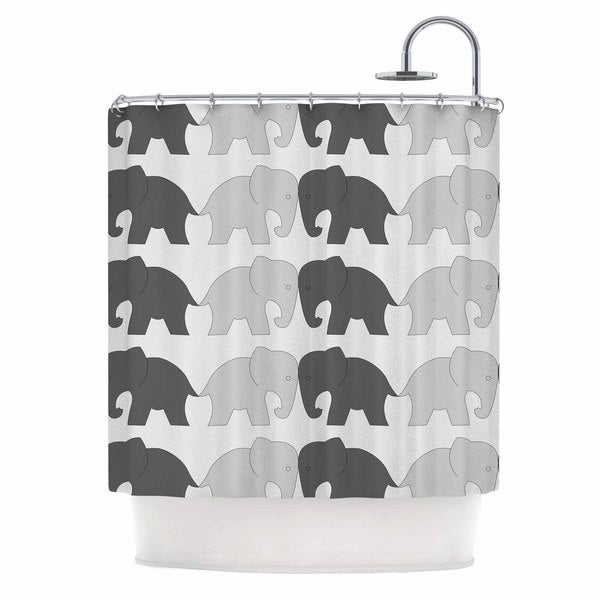 KESS InHouse NL Designs 'Elephants On Parade' Shower Curtain (69x70)