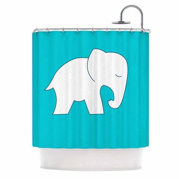 KESS InHouse NL Designs 'Cute Blue White Elephant' Shower Curtain (69x70)