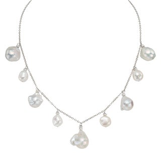 Pearlyta Sterling Silver 11 to 20-millimeter White Freshwater Pearl Chain Necklace